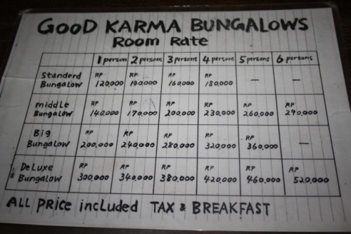 """GoodKarma PriceList - Im Osten von Bali: Die """"Good Karma Bungalows"""" nahe Amed"""